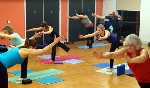 BraveBodies yoga class in Bursledon, Southampton,Tuesdays 8pm, Barbara Helis-Bailey, warrior 3